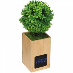 Zegar na biurko wykonany z bambusa, z małym sztucznym bukszpanowym drzewkiem - MA 2151713