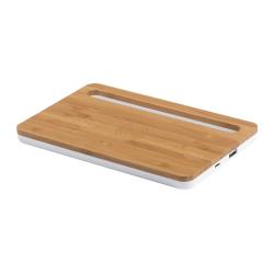 Bambusowy organizer biurkowy z uchwytem na telefon, wbudowaną ładowarką indykcyjną, oraz z portem USB - AP721675