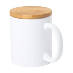 Kubek ceramiczny z matowym wykończeniem i bambusową pokrywką, 370 ml - AP721708