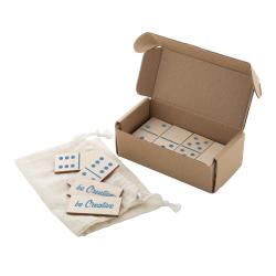 Domino z laminowanego drewna brzozowego składające się z 28 elementów w bawełnianym pokrowcu - AP718382