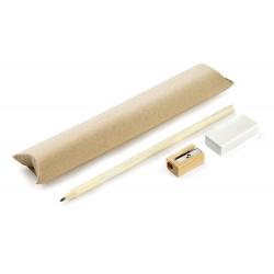 Ekologiczny zestaw składający się z drewnianego ołówka, temperówki i gumki - AS 19811