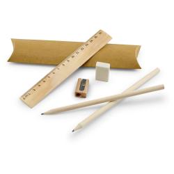 Zestaw piśmienniczy., zawiera linijkę 16,5 cm, 2 grafitowe ołówki, 1 gumkę i 1 temperówkę - ST 91932