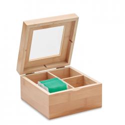 Bambusowe pudełko na herbatę ze szklaną pokrywką - MO9950
