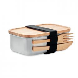 Lunchbox ze stali z bambusową pokrywką i sztućcami - MO9967