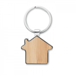 Brelok w kształcie domu z bambusowym elementem - MO9949