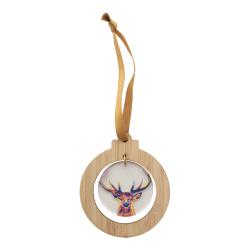 Personalizowana ozdoba choinkowa ze sklejki bambusowej i akrylu ze złotą wstążką - AP718642