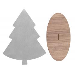 Dekoracja na stół w kształcie choinki ze stali nierdzewnej i podstawą ze sklejki z orzecha włoskiego - AP718636
