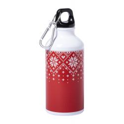 Aluminiowa butelka z motywem świątecznym i karabińczykiem, 400 ml - AP721799