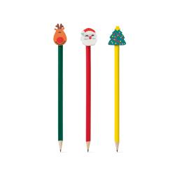 Naostrzony ołówek zakończony gumką w kształcie świątecznych symboli - ST 91943