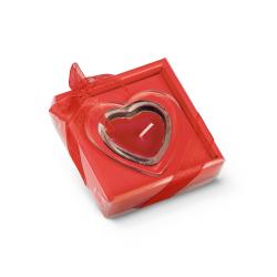 Świeca w kształcie serca ze szklaną podstawką - ST 95817