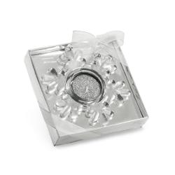 Świeca w szklanej podstawce w kształcie płatka śniegu - ST 95836