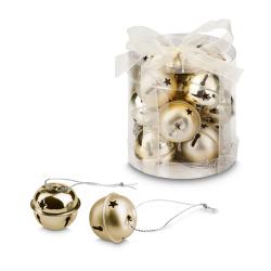 Zestaw 12 metalowych świątecznych dzwoneczków. - ST 99521