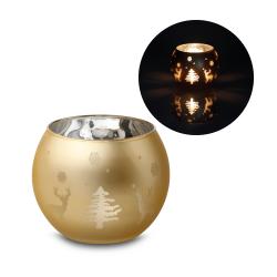 Szklany świecznik ze świąteczną dekoracją - ST 99536