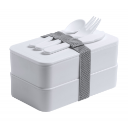 Pudełko na lunch z antybakteryjnego plastiku z zestawem sztućców -  AP721817