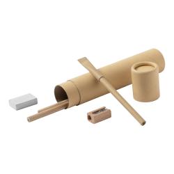 5 elementowy zestaw piśmienniczy z tubie z kartonu z recyklingu - AP721719