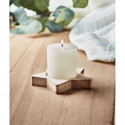 Drewniana podstawka dekoracyjna w kształcie gwiazdy z waniliową świeczką zapachową - CX1481