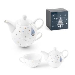 Porcelanowy zestaw do herbaty ze świątecznym nadrukiem - ST 94954
