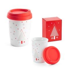Porcelanowy kubek podróżny ze świąteczną dekoracją - ST 94956