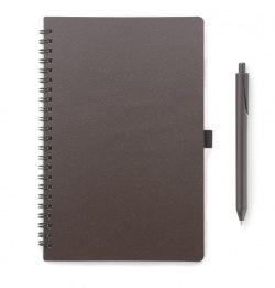 Kawowy notes ekologiczny A5 w linie z długopisem - AS 17857