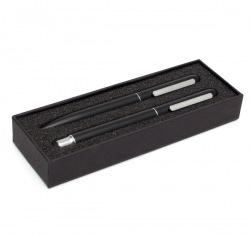 Zestaw składający się z aluminiowego długopisu i pióra kulkowego - R01074