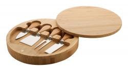 Okrągła bambusowa deska do krojenia z nożami do sera - AP800450