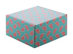 Personalizowane, kwadratowe pudełko prezentowe/pocztowe z tektury falistej z nadrukiem full kolor - AP716129