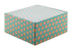 Personalizowane, kwadratowe pudełko prezentowe/pocztowe z tektury falistej z nadrukiem full kolor - AP716131
