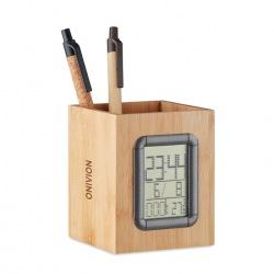 Bambusowy pojemnik na długopisy z cyfrowym kalendarzem, budzikiem i termometrem - MO6289